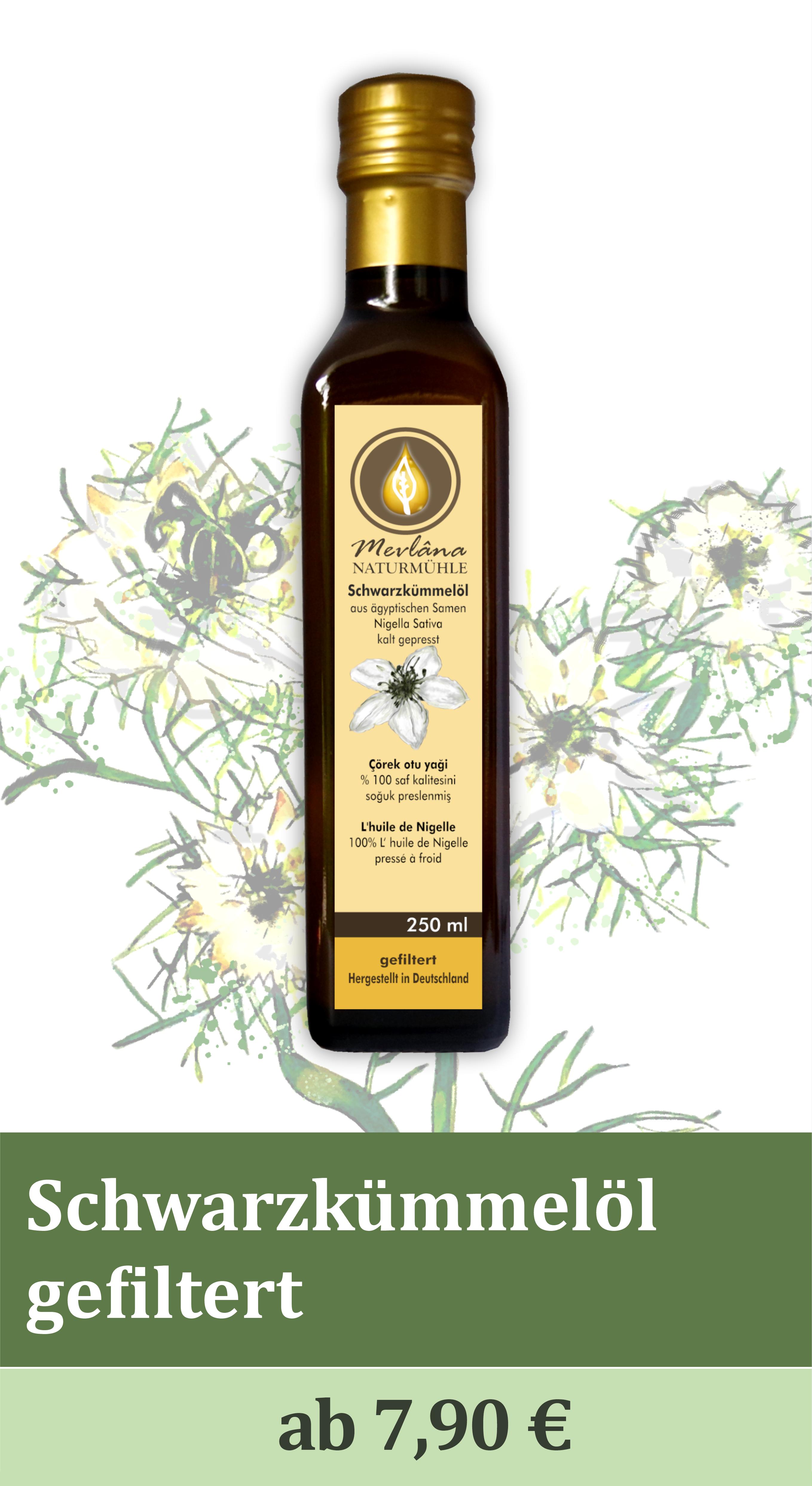 Schwarzkümmelöl gefiltert, Schwarzkümmelöl ungefiltert, kaltgepresst, 100%, nigella sativa, Kräuterölmühle, Ölmühle, Naturmühle, mühlenfrisch, Kümmelöl, naturbelassen, Rohkostqualität