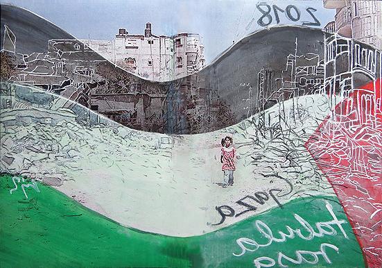 "Gaza tabula rasa? Mischtechnik / Mixed Media, 40 x 60 cm, ""Kunst und Politik"" (3)"