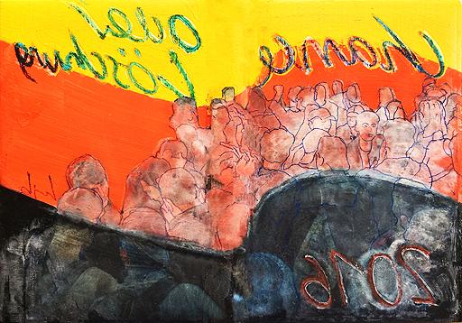 """Chance oder Löschung?/ Chance or cancellation?  Mischtechnik / Mixed Media, 40 x 60 cm, """"Kunst und Politik"""" (2)"""