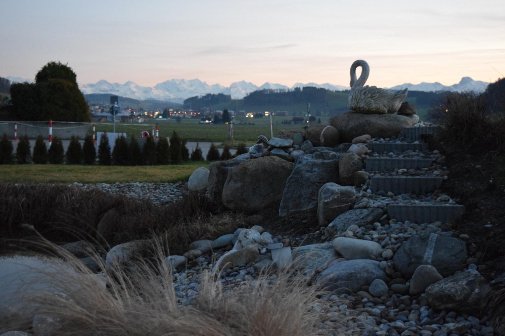 Teich und Aussicht auf die Berner Alpen
