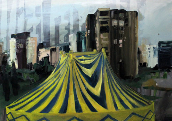 the tent 2016 50 x 70 oil on cardboard