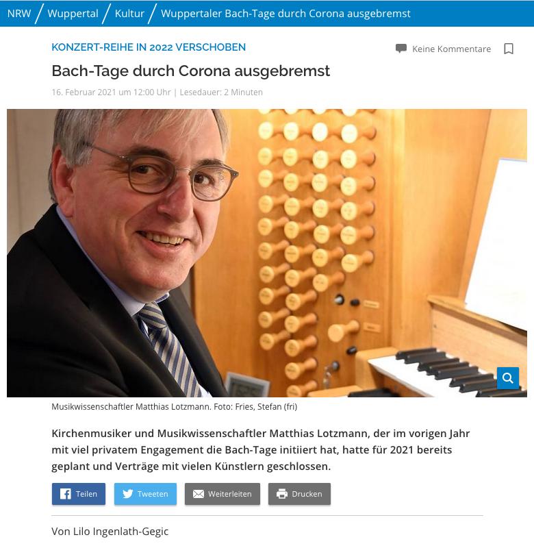 Bach-Tage durch Corona ausgebremst // WZ vom 16.02.2021