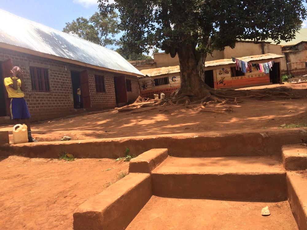 Die Unterrichtsgebäude, ein Jackfruit-Baum in der Mitte