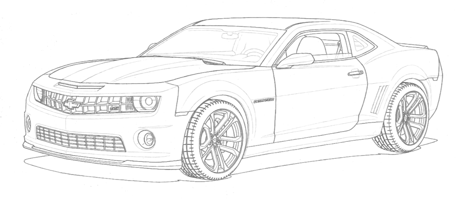 The car is drawn with lead pencil. Only contour lines are done.