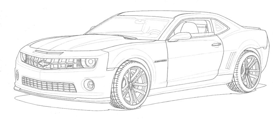 L'auto est dessiné au crayon de plomb. Seules les lignes contour sont réalisées
