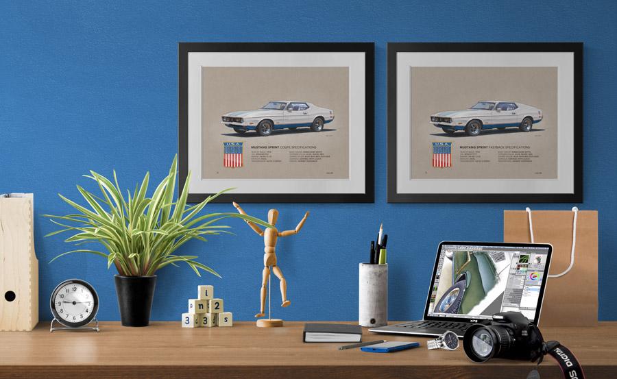 """Voici le dessin au look """"vintage"""" de la Mustang Sprint 1972 dans sa carrosserie coupé et """"sport roof"""""""