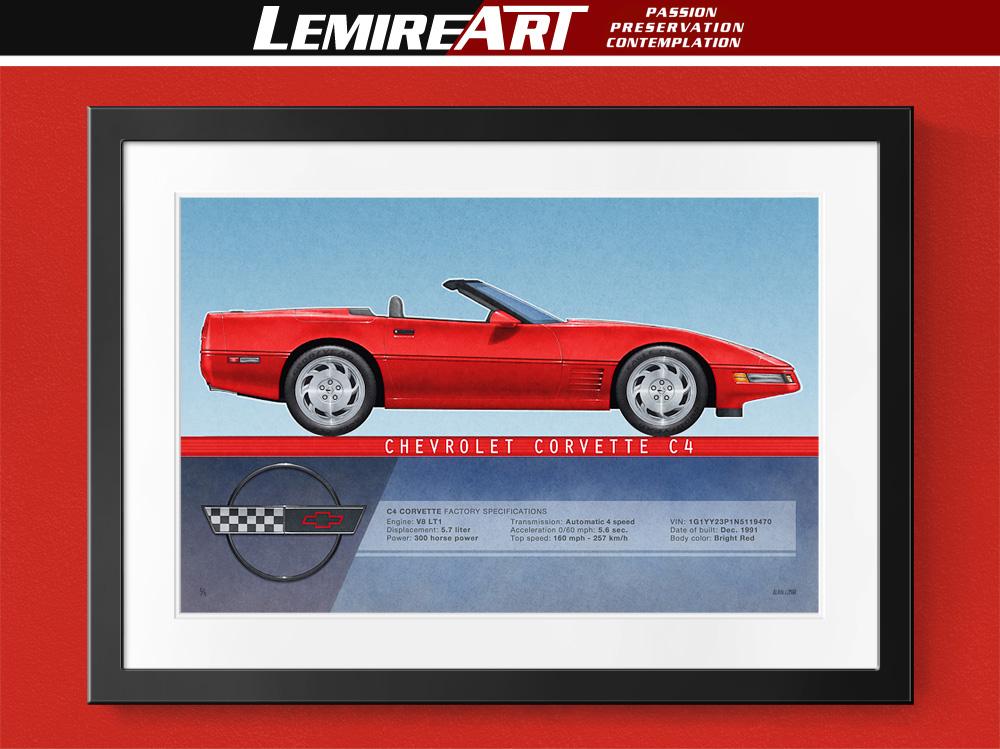 1991 Corvette convertible drawing, 1992 Corvette convertible drawing, 1993 Corvette convertible drawing, 1994 Corvette convertible drawing