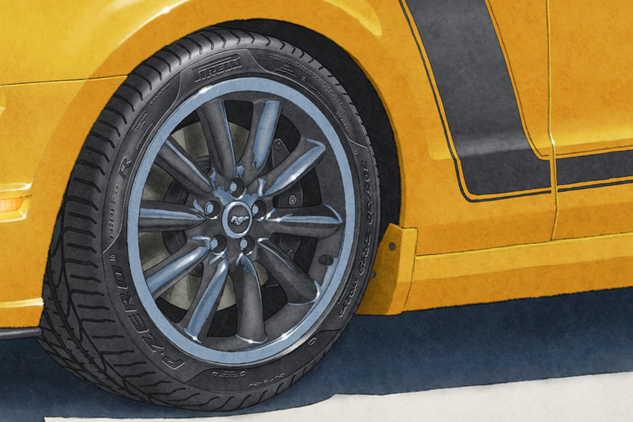 """Pirelli wall tire lettering is added to the 16""""X24"""" drawn portrait"""