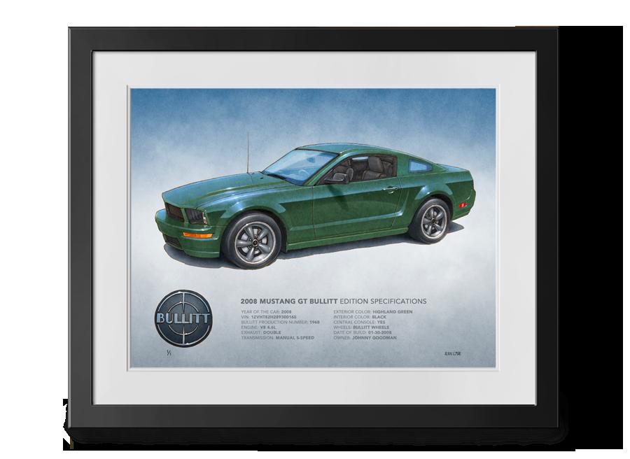 Dessin Mustang Bullitt 2001