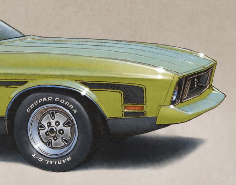 Les ajouts sur ce dessins sont les caps de roue, le lettrage Cooper Cobra Radial G/T le capot plat et le retrait du déflecteur avant