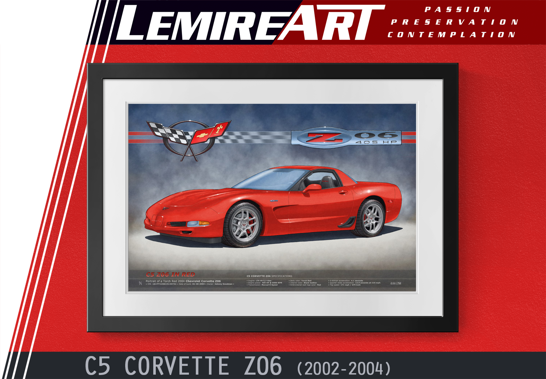 Drawn portrait of a C5 Corvette Z06 in Torch Red