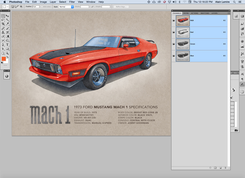 The drawing is scanned and colored using Photoshop. There is no parts of the car drawing that are pictures. Every elements of the car are 100% drawn.