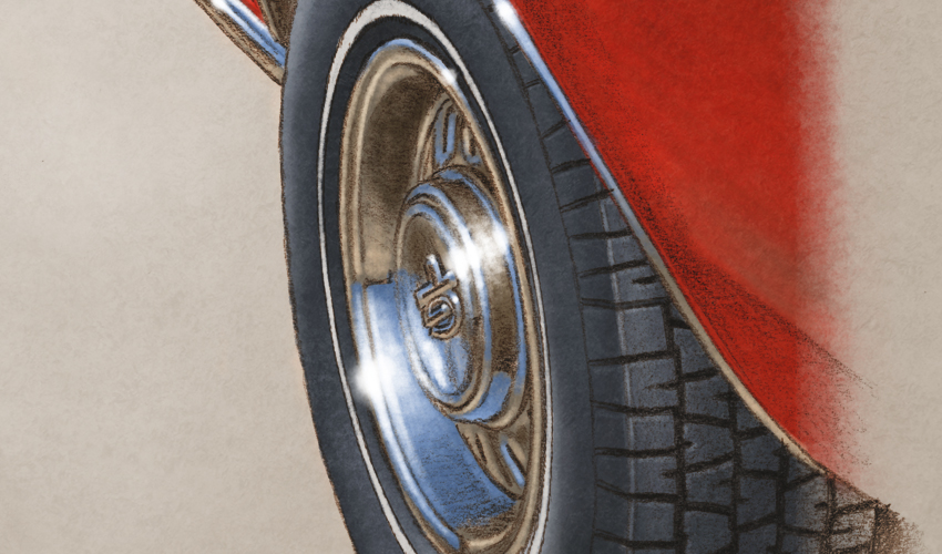 Rear wheel is very detailed like the tire tread is drawn.