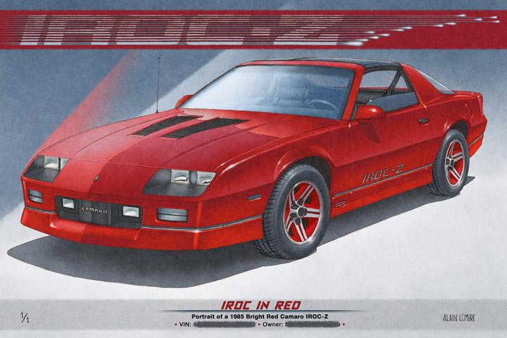 1er tirage personalisé du dessin de la Camaro IROC-Z vendu en avril 2016 pour un client du New Jersey