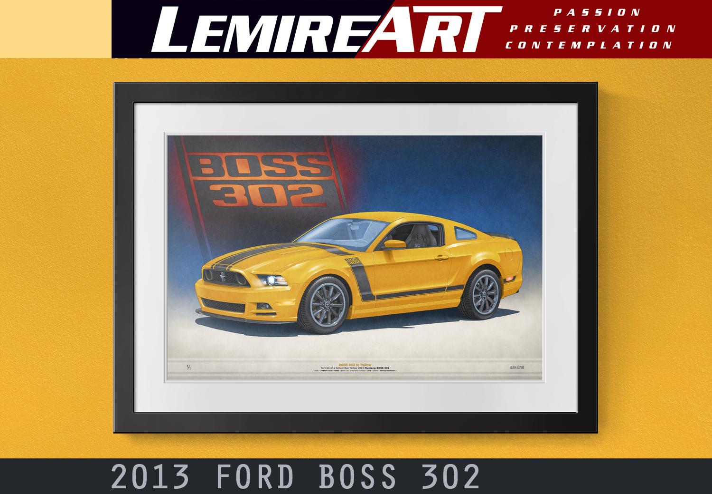 2013 BOSS 302 framed drawing by Lemireart