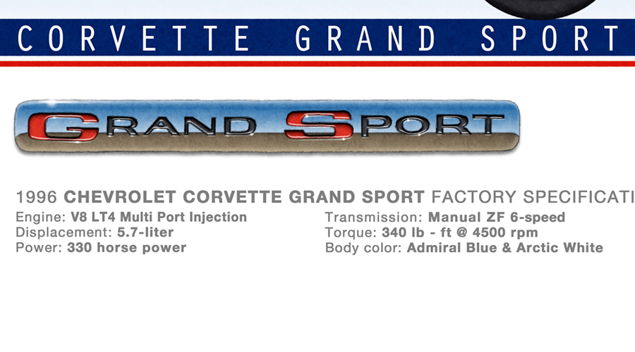 The specifications and emblem of the Corvette Grand Sport appear on the limited edition of the drawn portrait