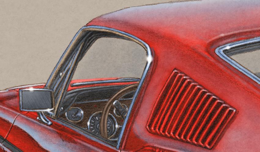 La voiture est dessiné en respectant les éléments installés à l'époque comme le volant en bois et la bande décorative latérale