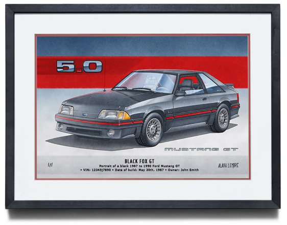 FRAMED ARTWORK OF THE MUSTANG GT FOX BODY