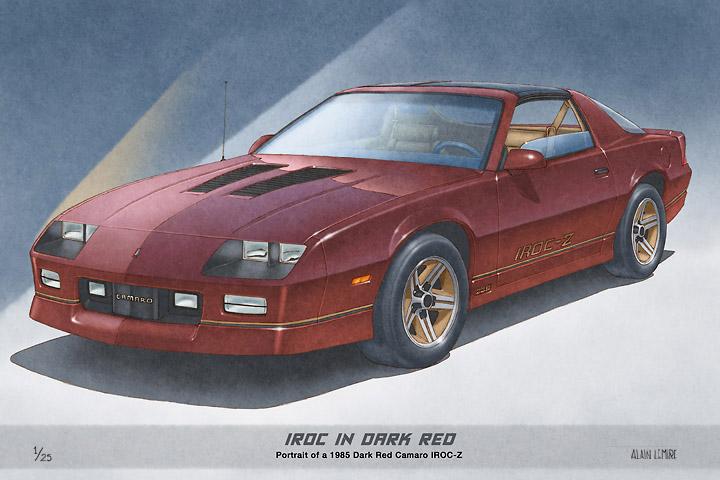 1ère copie de l'édition à tirage limitée de la Camaro IROC-Z vendu en rouge foncé et doré en avril 2016 à un client du Michigan.