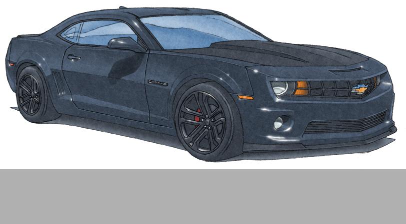 4- L'étape finale d'un dessin d'auto est l'application des reflets du soleil sur les parties en métal