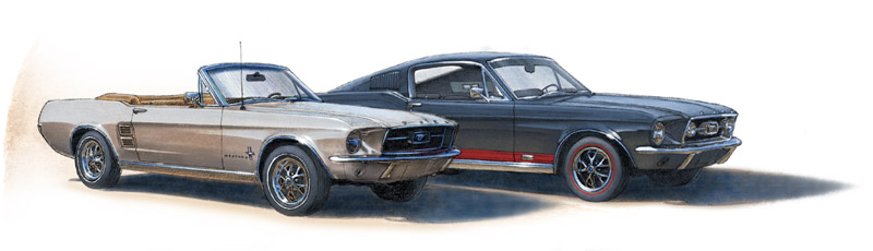 Mustang 1967 convertible & Mustang GT fastback 1967