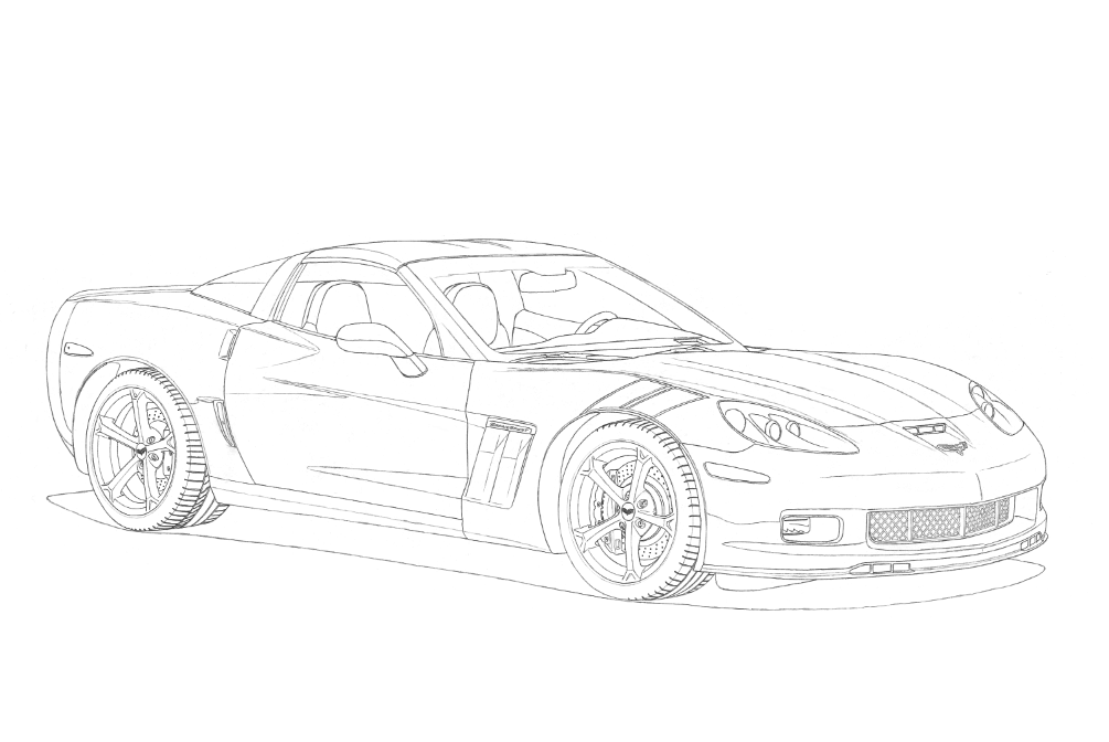 The car is drawn in lead pencil. Only contour lines are drawn.