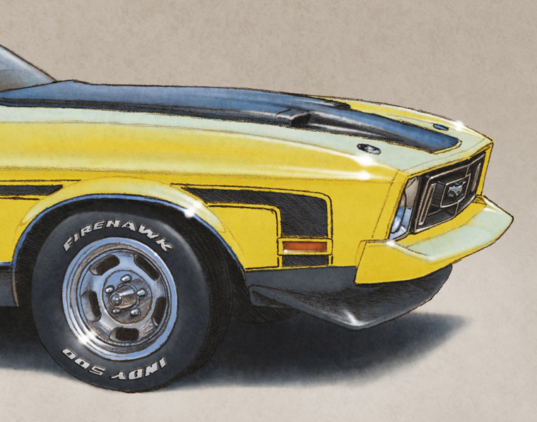 The additions on this drawing are the aluminum wheels, the front grill changed and the Firehawk INDY 500 lettering on the tires.