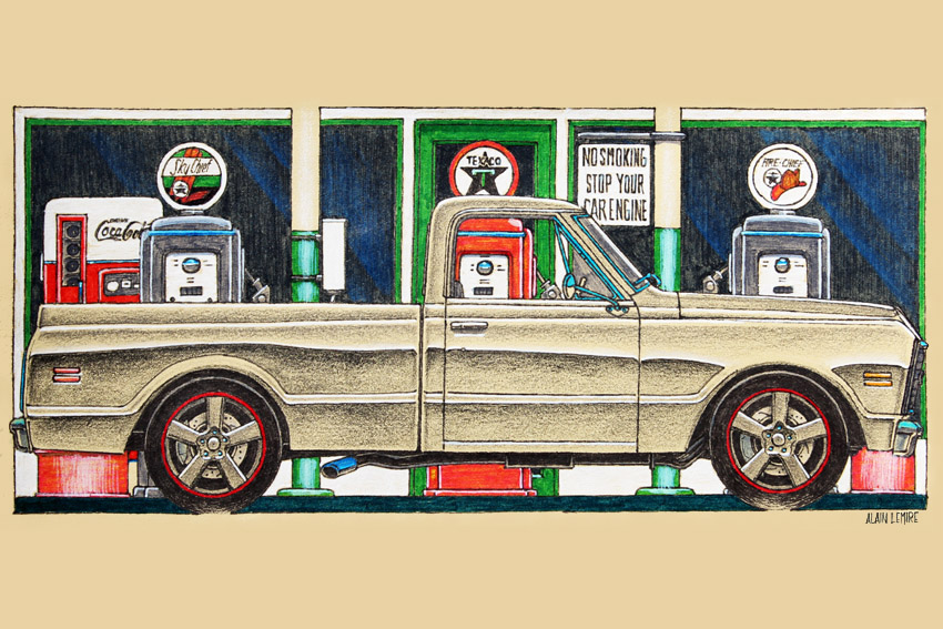 Custom Chevrolet C-10 pickup sketch