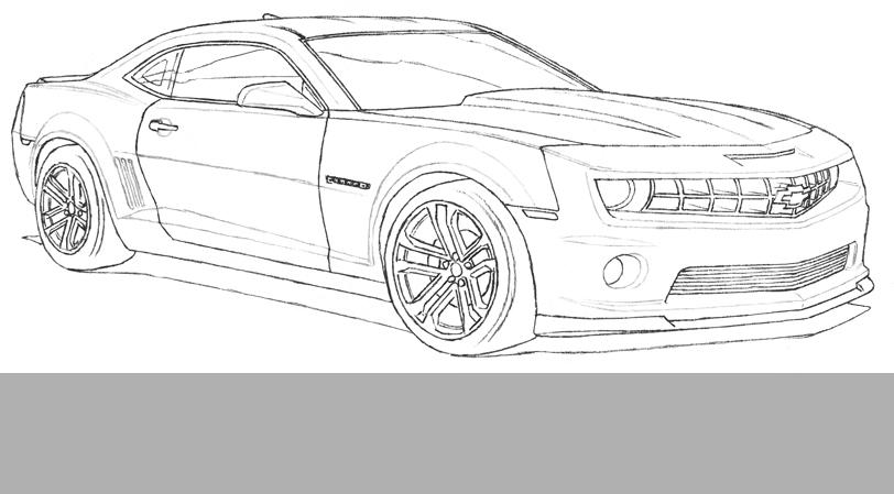1- L'auto est dessinée à la ligne au crayon de plomb sur papier blanc