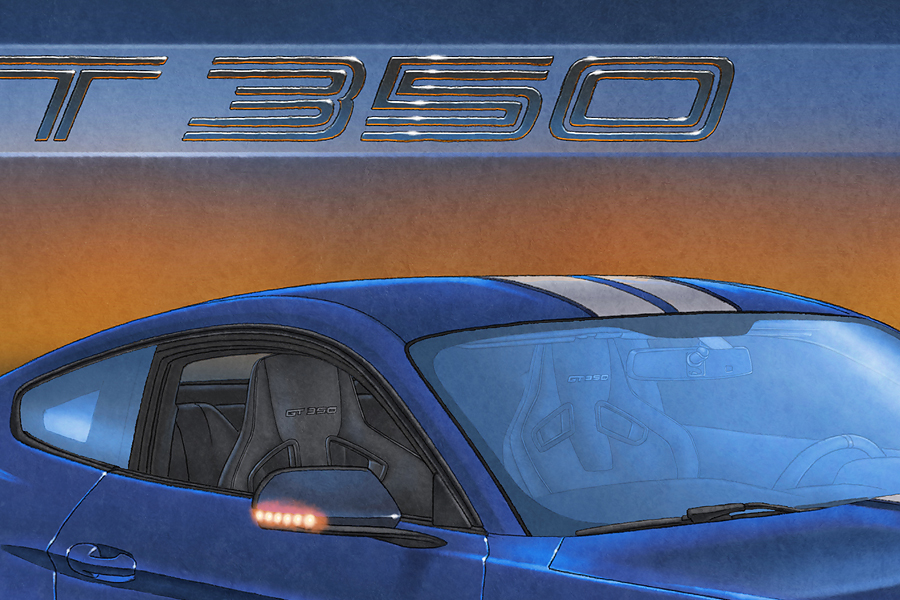 All elements on the car are hand drawn like the Recaro seats with the GT350 added on the head rests