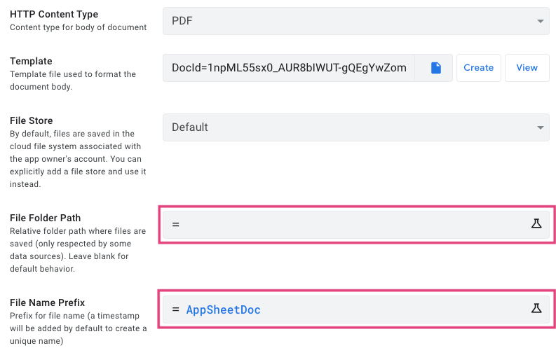 File Folder Path とFile Name Prefix を設定する。