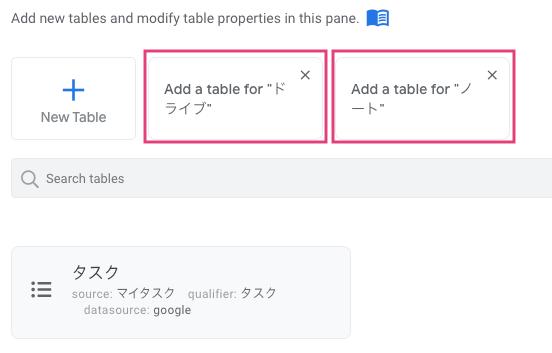 テーブルを追加する。