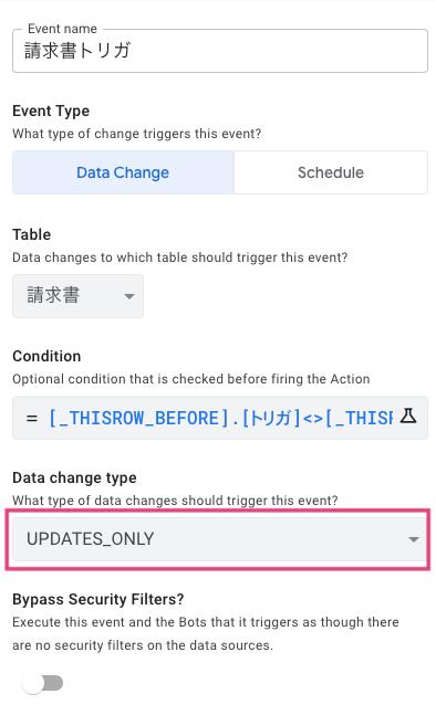 Data change type を設定する。