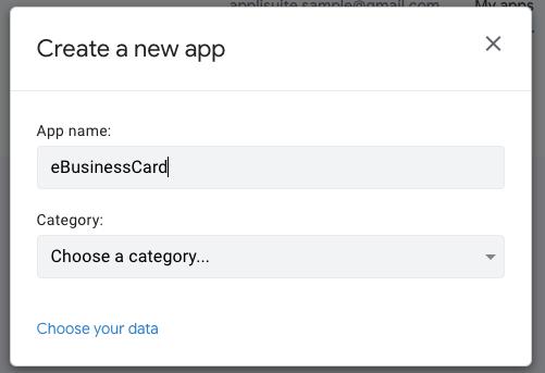 「Create a new app」を設定する。