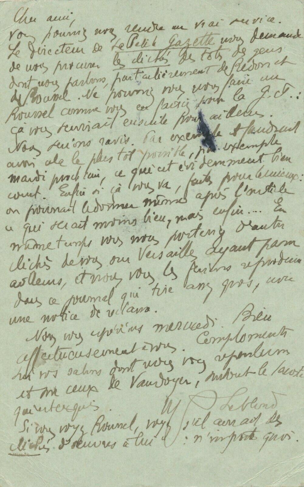 Marius LEblond, lettre autographe signée