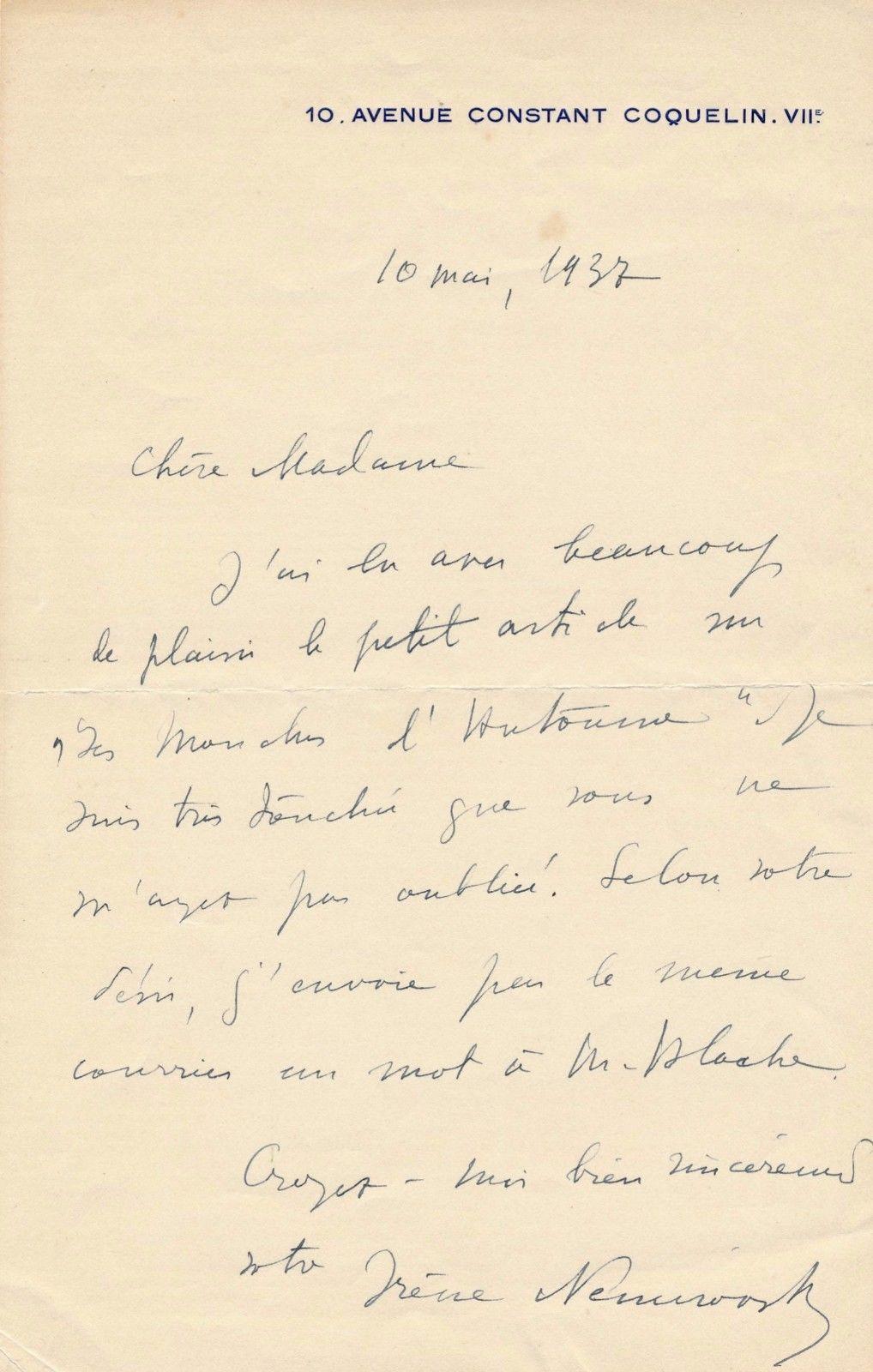 Irène Némirovsky lettre autographe signée