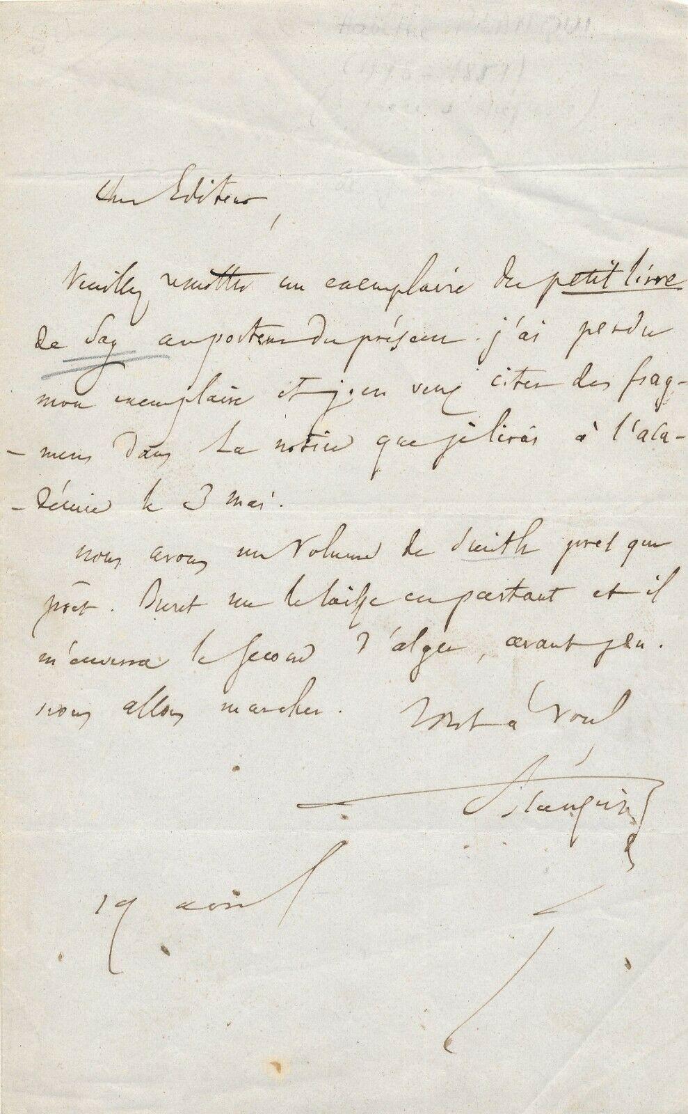 Adolphe Blanqui, lettre autographe signée