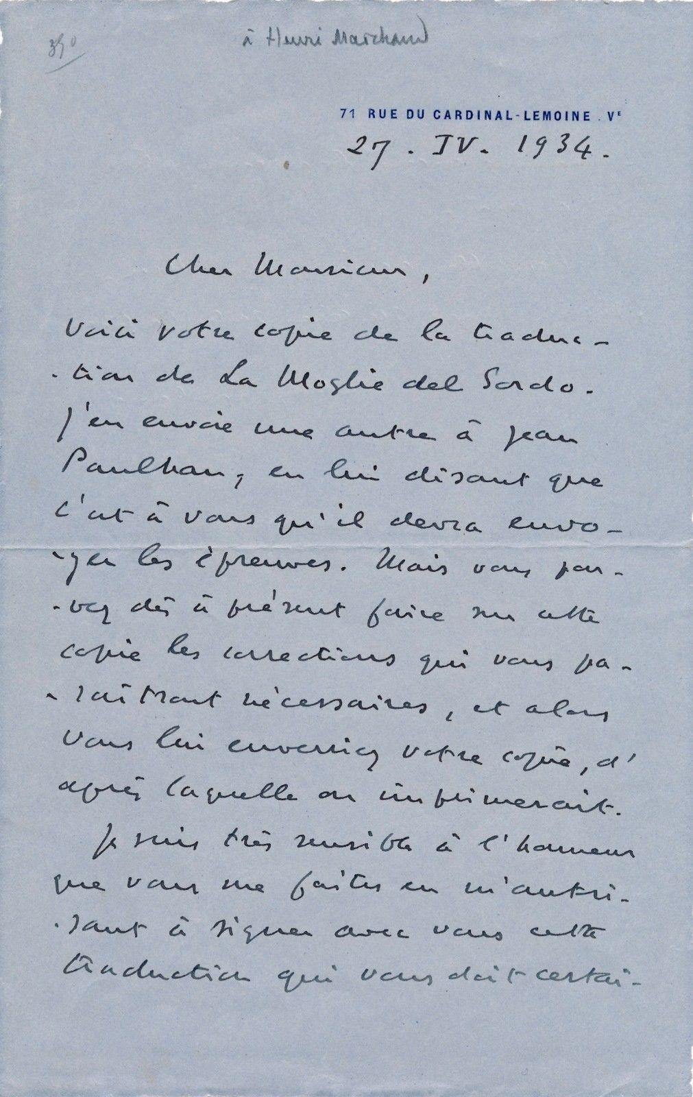 Valery Larbaud lettre autographe