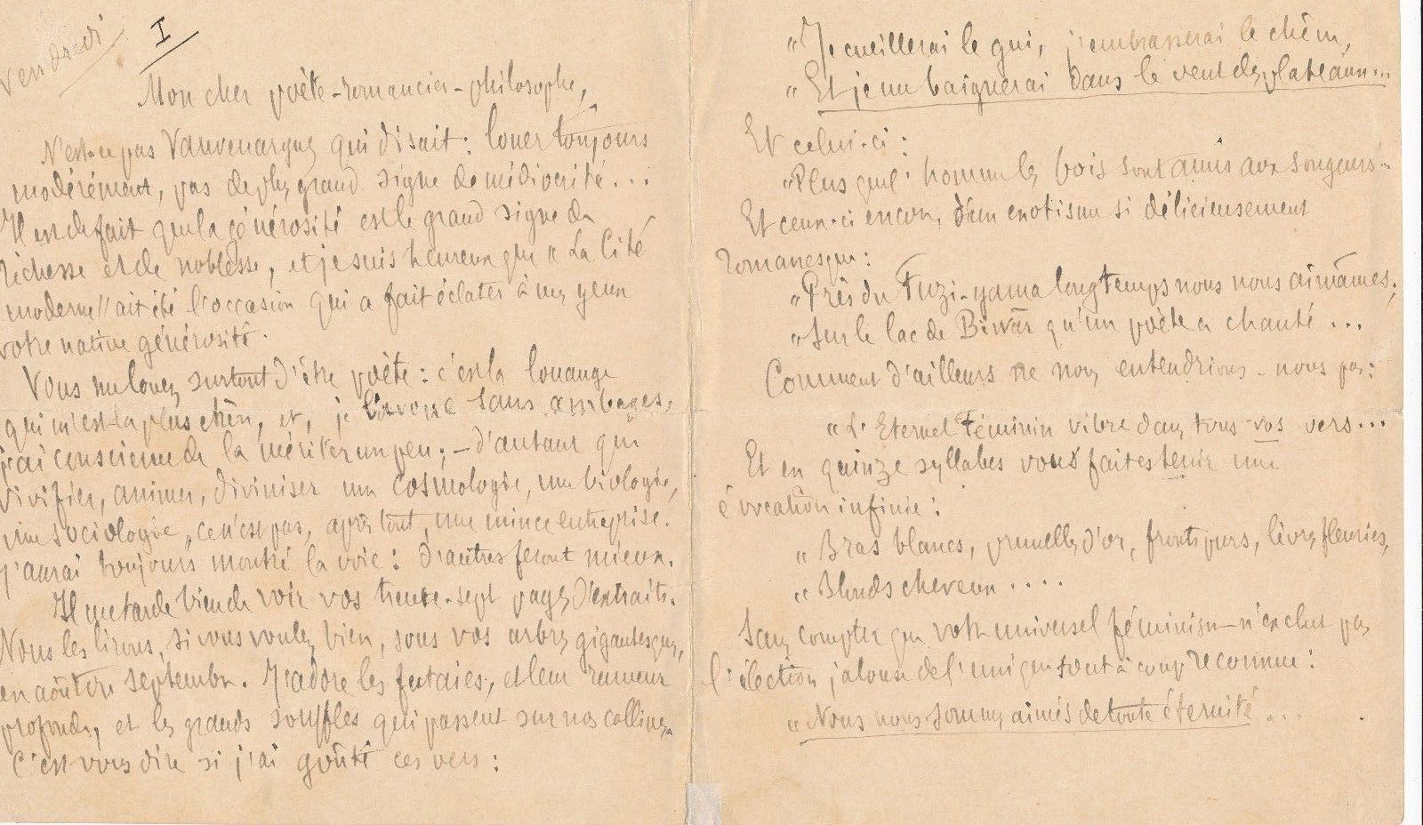 Jean Bernard Joachim Izoulet, lettre autographe signée