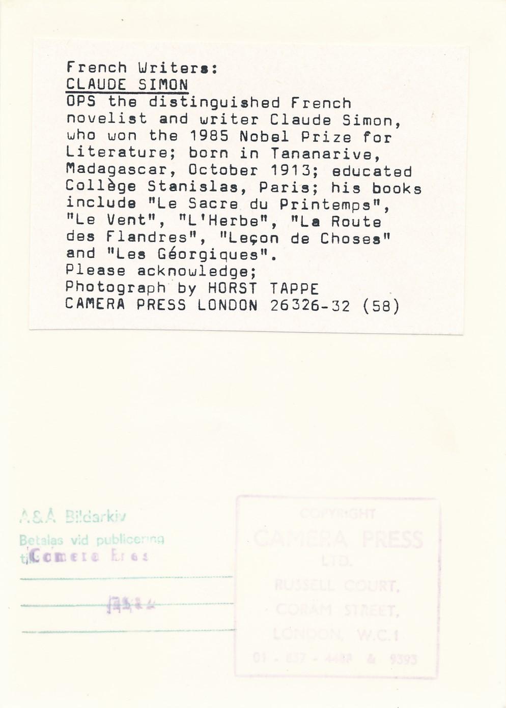 Claude Simon tirage postérieur photo vintage CD Galerie Achat Vente
