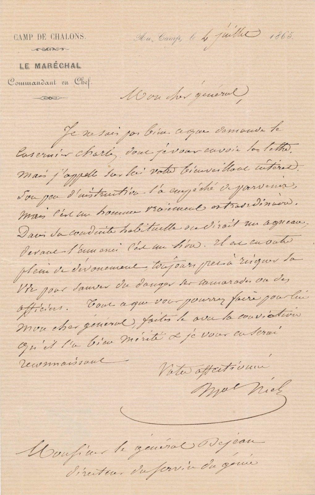 Adolphe Niel, lettre autographe