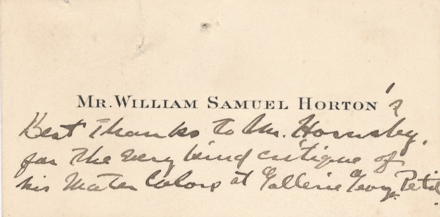 !William Samuel HORTON carte autographe signée