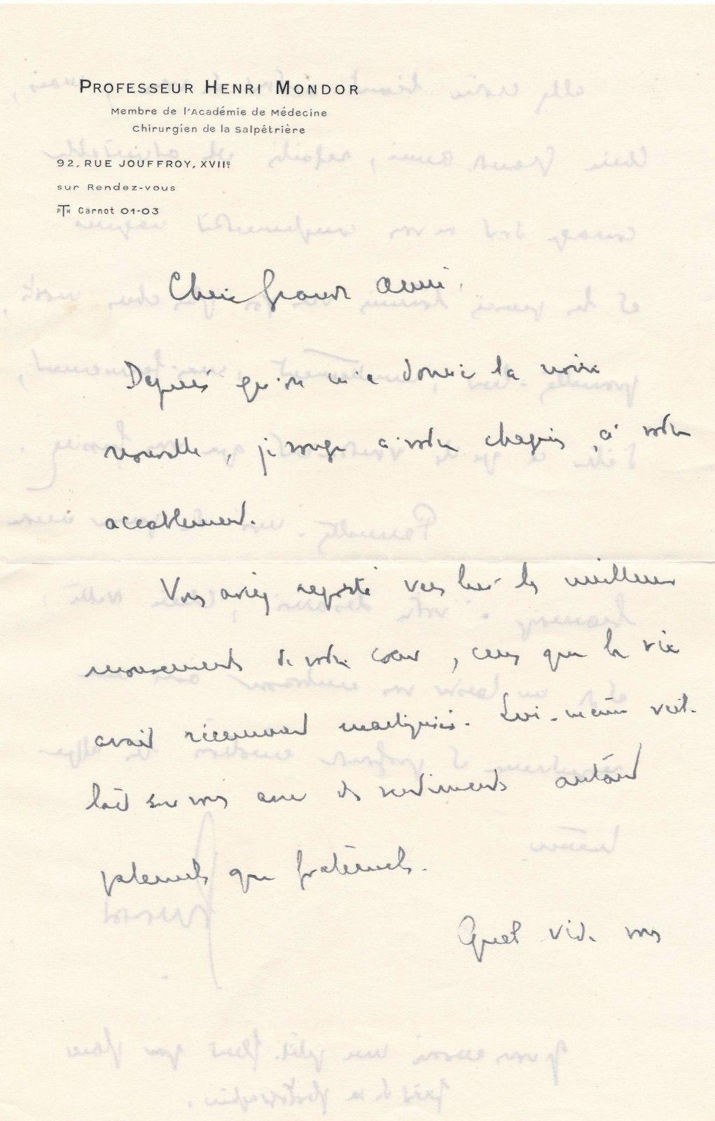 Henri Mondor lettre autographe signée et dessin lithographié signé