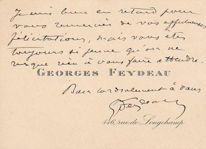 Georges FEYDEAU (1862-1921), dramaturge carte autographe signée théâtre