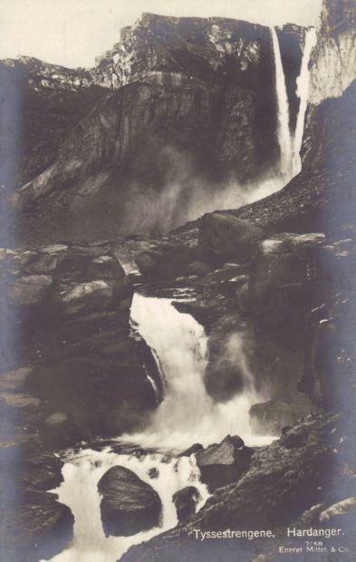 Postkartenansicht des Tyssestrengene am oberen Ende des Ringedalsvatnet