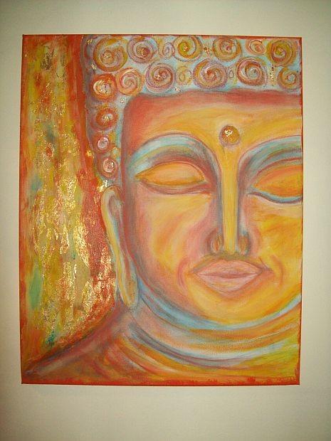 Buddhakopf in Pastellkreide/Acryltechnick mit Blattgold..