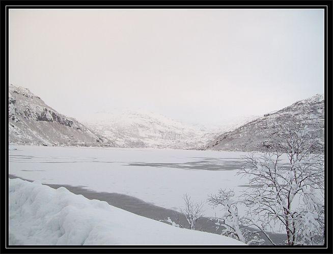 Blick ueber den See nach Øyni..