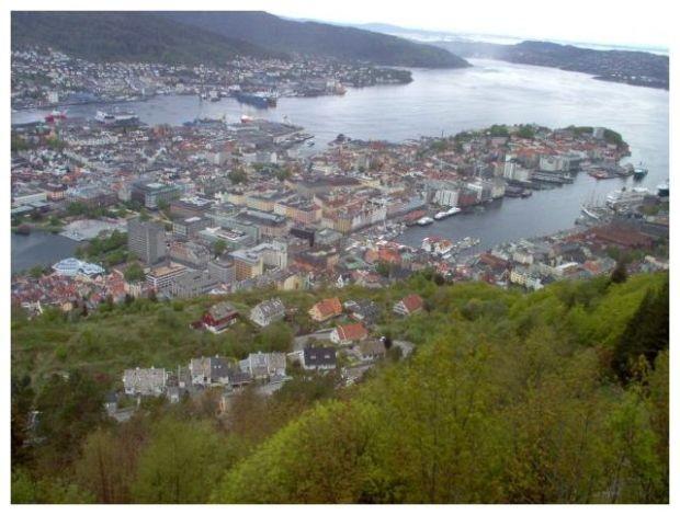 Blick hinab vom Fløyen