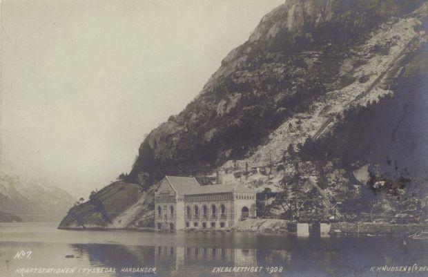 Alte Postkartenansicht der Kraftstation in Tyssedal ca. 1908