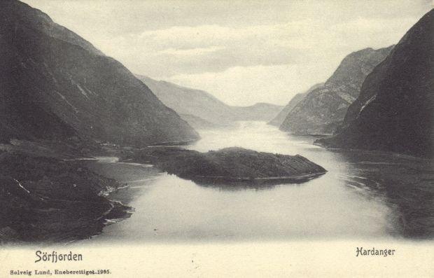 Postkartenansicht, Blick von Odda auf den Sørfjorden ca. 1905